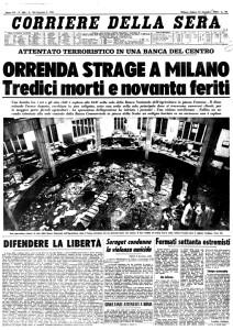 corriere prima pagina piazza fontana